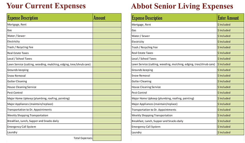 Abbot Senior Living Cost Worksheet